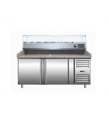 Meubles à Pizzas - Dessus Granit 2 Portes + Kit Réfrigéré
